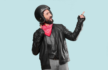 motorbike rider celebrating a victory Wall mural