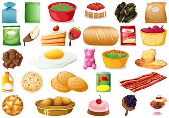 Set of different foods