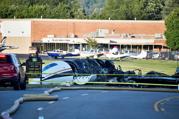 The wreckage of a plane crash involving NASCAR driver Dale Earnhardt Jr. and his family, who survived the incident, in Elizabethton