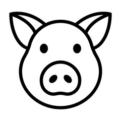 Pig head / face or pork bacon line art vector icon for animal apps and websites