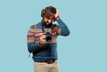 young hippie man photographer