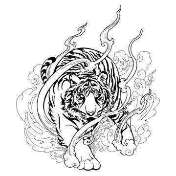 Oriental Tiger walking tattoo decorate with cloud black and white doodle drawing vector