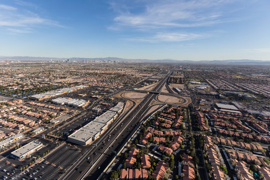 Aerial view of the route 95 freeway and suburban Summerlin homes in sprawling Las Vegas, Nevada.