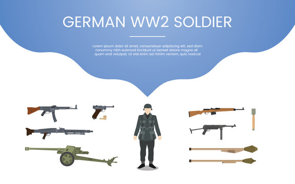 german ww2 soldier army concept theme for template banner or landing infographics - vector