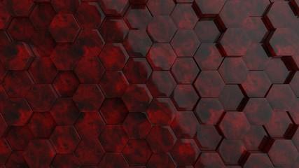 Fotobehang - Hexagonal dark red glass stone background texture. 3d illustration, 3d rendering