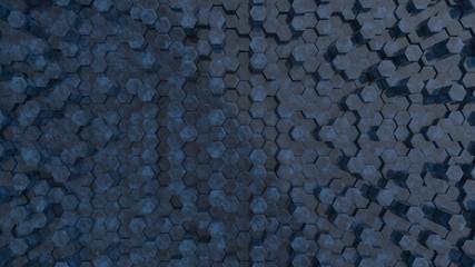Fotobehang - Hexagonal dark blue sapphire background texture. 3d illustration, 3d rendering