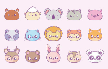 group of cute animals baby kawaii style