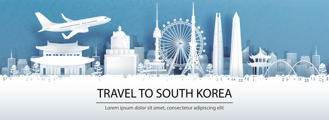 Fototapete - Travel advertising with travel to South Korea concept with panorama view of Singapore city skyline and world famous landmarks in paper cut style vector illustration.