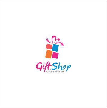 Gift Shop Logo Design. Loving Gift Logo Icon Template. Gift Box Logo Icon Vector