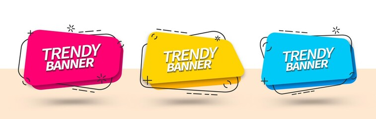 Trendy set of abstract banners square shape in Memphis style. Vector bright template banners. Template ready for use in web or print design.