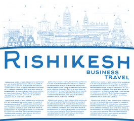 Outline Rishikesh India City Skyline with Blue Buildings and Copy Space.