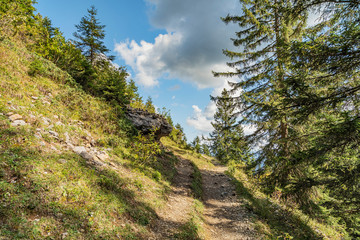 View to steep Hiking trail at Hoher Ifen / Austria