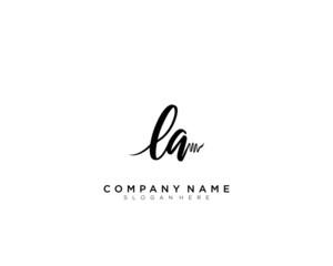 LA Initial Handwriting Logo Template Vector