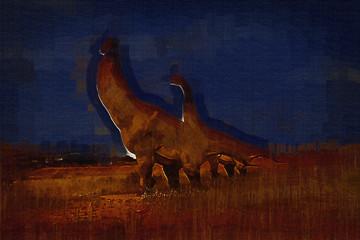 Dinosaur art illustration painting Wall mural