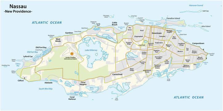 Map of Nassau capital of the Bahamas on the island New Providence