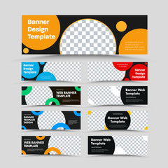 Horizontal black vector web banner templates with place for photo and round color elements.