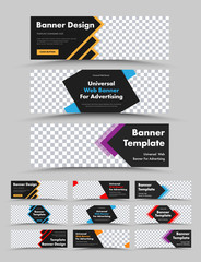 Wall Mural - Set of horizontal black vector web banners with colored arrows, lines and rhombuses.