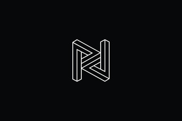 Outstanding professional elegant trendy awesome artistic black and white color N NN RN NR NZ ZN initial based Alphabet icon logo.