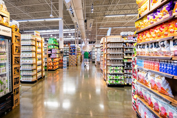 June 20, 2019 Cupertino / CA / USA - Interior view of a large Whole Foods store; south San Francisco bay area