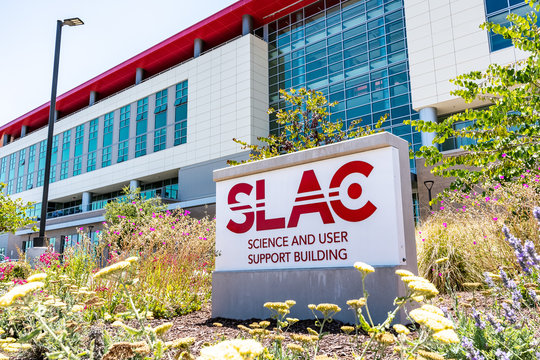 June 21, 2019 Menlo Park / CA / USA - The Science and User Support Building at SLAC National Accelerator Laboratory (originally named Stanford Linear Accelerator Center)