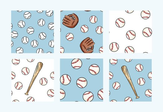 Collection of baseball seamless patterns. Cute doodles hand drawn baseballs background texture tiles set