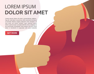 Thumb up and down hand gestures. Like and dislike, positive or negative review, customer rate, text sample. Feedback concept. Vector illustration for banners, posters, webpage templates