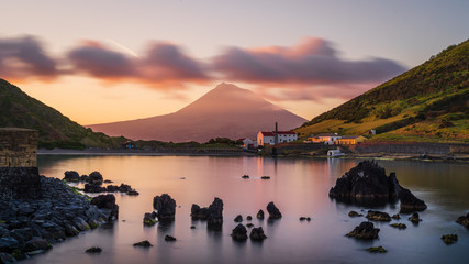 Colourful Sunrise in Horta, Faial Island: long Exposure of the Porto Pim Beach, the Whaling Station...