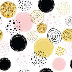 Seamless pattern polka dot abstract ornament decorated golden, pink, black hand drawn elements