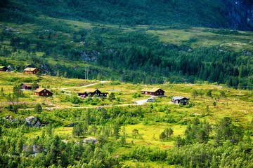 Beautiful nordic summer landscape with small village.