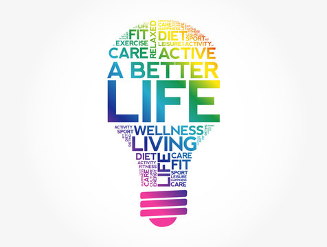 A Better Life bulb word cloud, health concept background