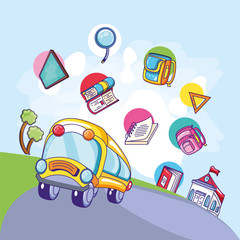 bus school transportation with set supplies education
