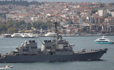 U.S. Navy guided-missile destroyer USS Porter sails in the Bosphorus in Istanbul