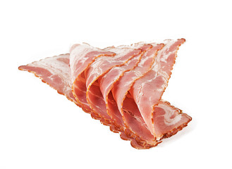 Sliced bacon isolated on white background