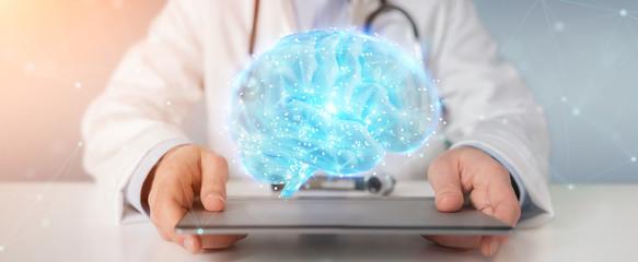 Wall Mural - Doctor using digital brain scan hologram 3D rendering