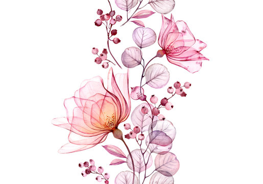 Transparent watercolor rose. Seamless vertical border floral illustration. Isolated hand drawn arrangement with berries for wedding design, stationery card print