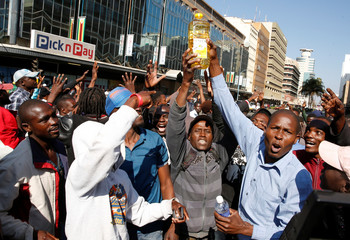 Protesters gather on the streets after police earlier banned planned protests by the opposition Movement for Democratic Change (MDC) in Harare