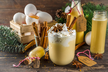 Christmas Bombardino cocktail with egg liqueur