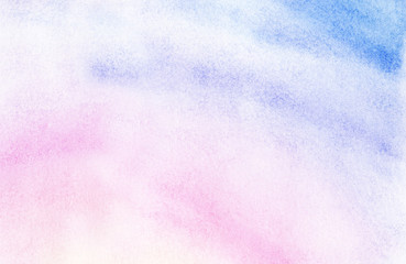 Abstract watercolor background of pastel shades. Gentle gradient from light blue to mauve color. Sunrise sky with fluffy white clouds. Hand drawn illutration with high resolution on textured paper