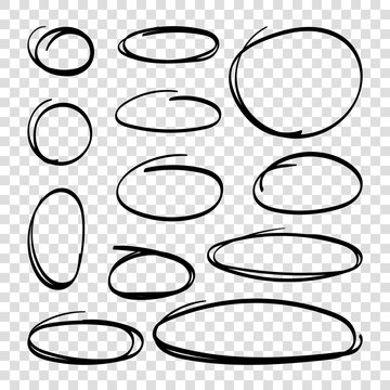 Hand drawn ovals. Highlight circles set. Highlighting text or important objects. Line art. Grunge round scratch