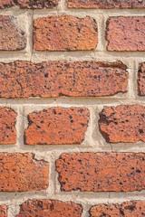 Hintergrund Mauer aus alten Ziegelsteinen closeup frontal - Background wall of old bricks closeup