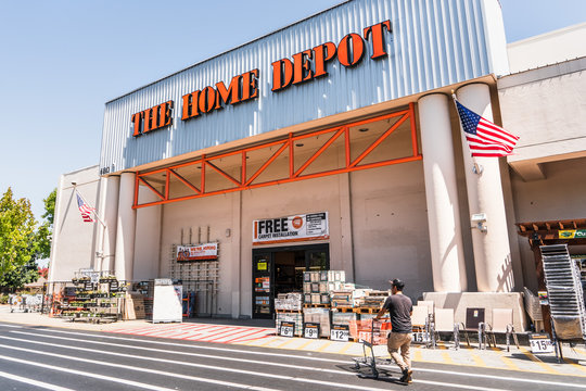 August 12, 2019 Sunnyvale / CA / USA - People shopping at Home Depot in South San Francisco bay area