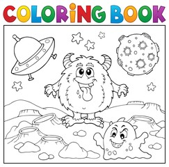 Poster For Kids Coloring book monsters in space theme 1