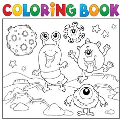 Poster For Kids Coloring book monsters in space theme 2