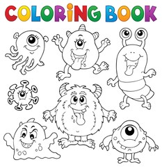 Poster Voor kinderen Coloring book monsters theme set 1