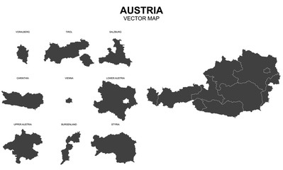 vector map of Austria on white background Wall mural