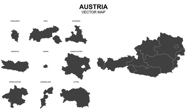 vector map of Austria on white background
