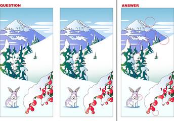 雪とうさぎの風景の間違い探しクイズ