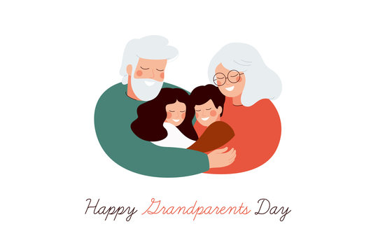 Happy Grandparents Day greeting card. Senior generation embrace their grandson and granddaughter with love and care. Vector illustration isolated on white background