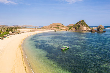 Idyllic Kuta beach in South Lombok in Indonesia in Southeast Asia