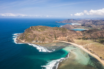 Stunning aerial view of the Pantai Mawun beach in South Lombok